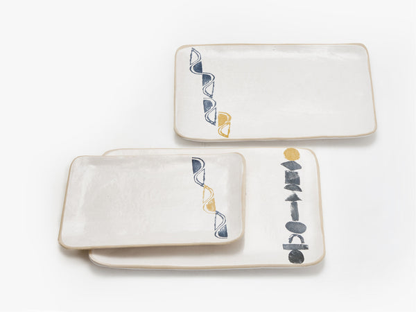 Our new range of hand-built platters with potato prints online - Sugar and Vice