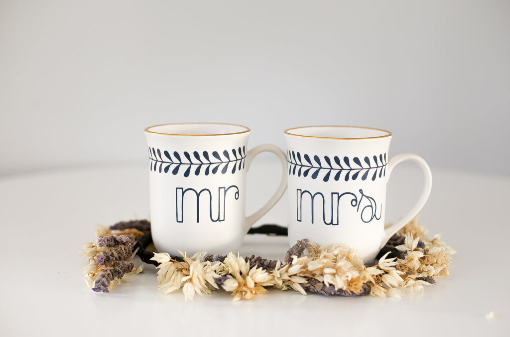 Limited Edition Mr & Mrs Mugs Gold and Navy