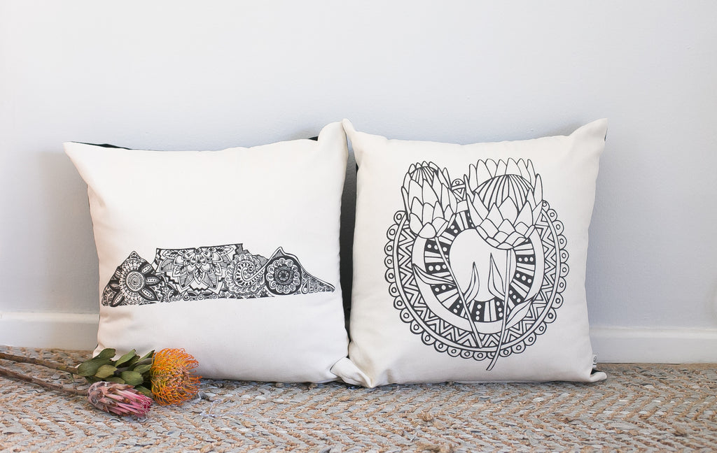 Protea and Table Mountain Scatter Cushions Souvenirs