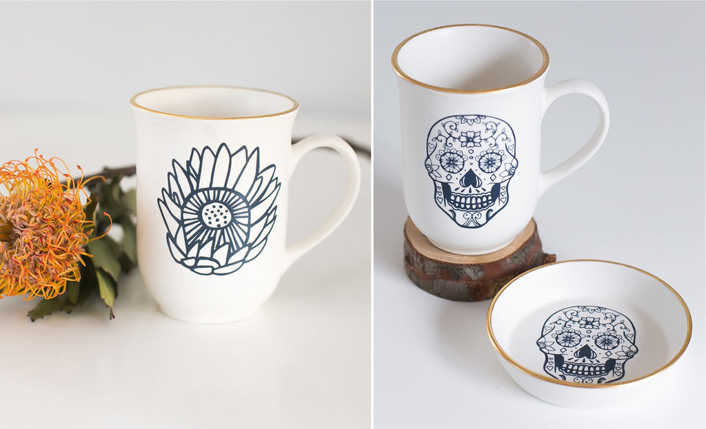 Limited edition ceramic skull and protea mugs and bowls