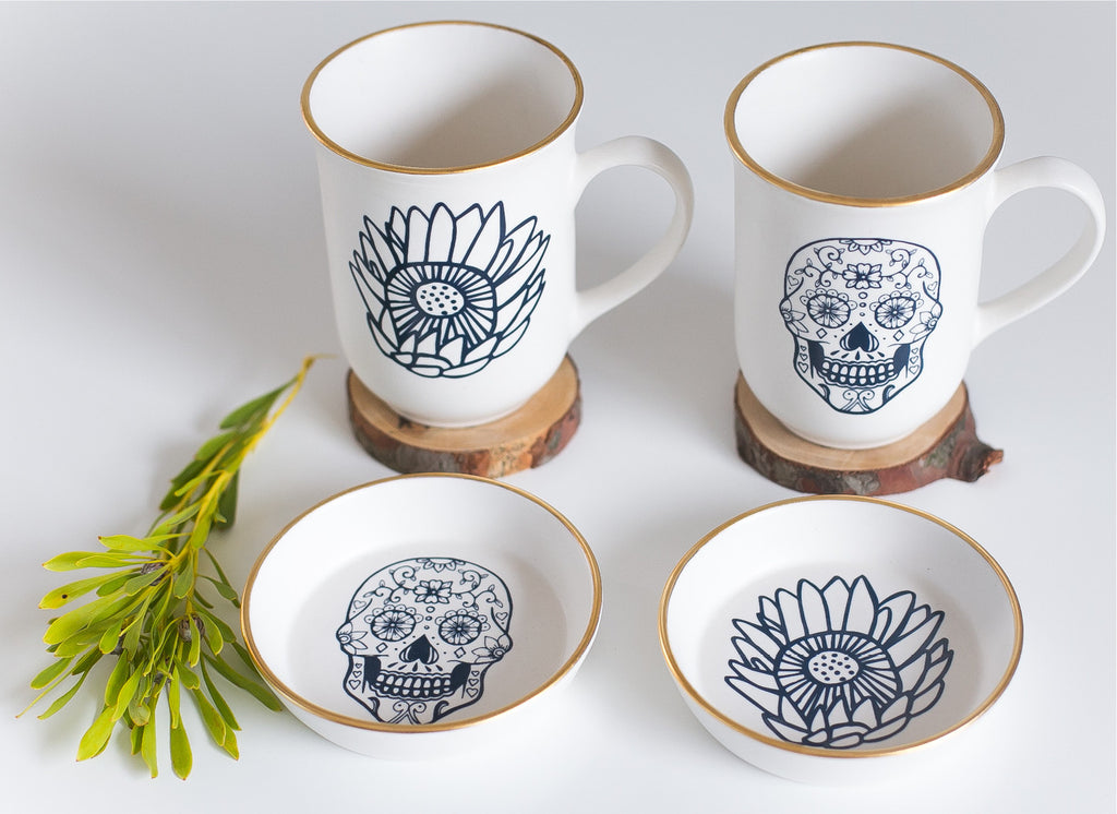 Limited edition skull and protea mugs and bowls