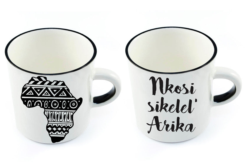 New African inspired ceramic white mugs
