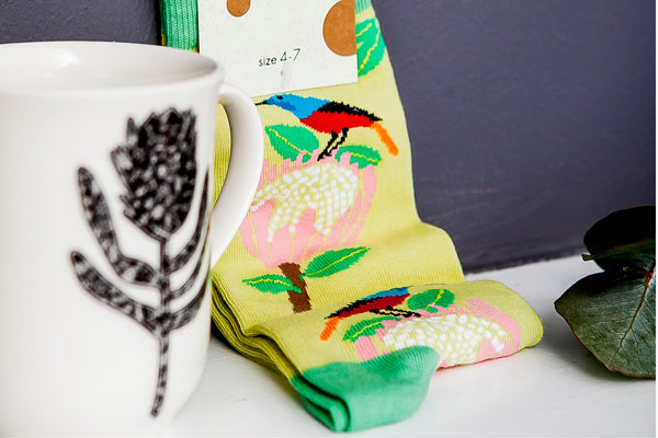 Valentines Gift Ideas - Protea Sock and Protea Sunbird Mug Gift Set - Sugar and Vice