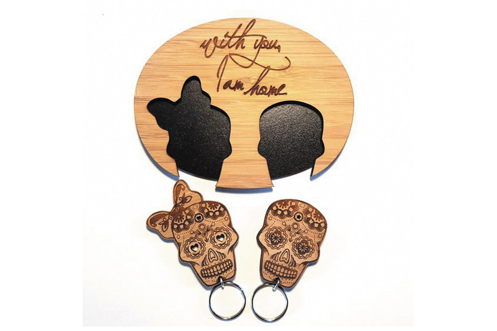 Valentines Gift Ideas - Sugar Skull His and Hers Bamboo Key Chain Set - Sugar and Vice