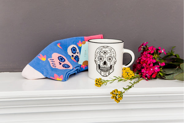 Valentines Gift Ideas - Sugar Skull Sock and Mexican Skull Mug Gift Set - Sugar and Vice