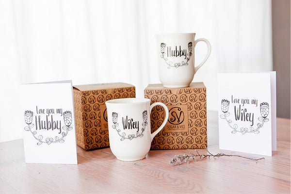 Valentines Gift Ideas - Wifey & Hubby mugs & matching greeting cards greeting cards - Sugar and Vice