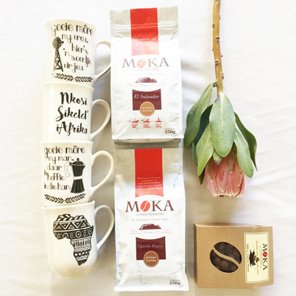 hand-roasted artisan chocolate coated moka coffee beans and mugs - sugar and vice 1