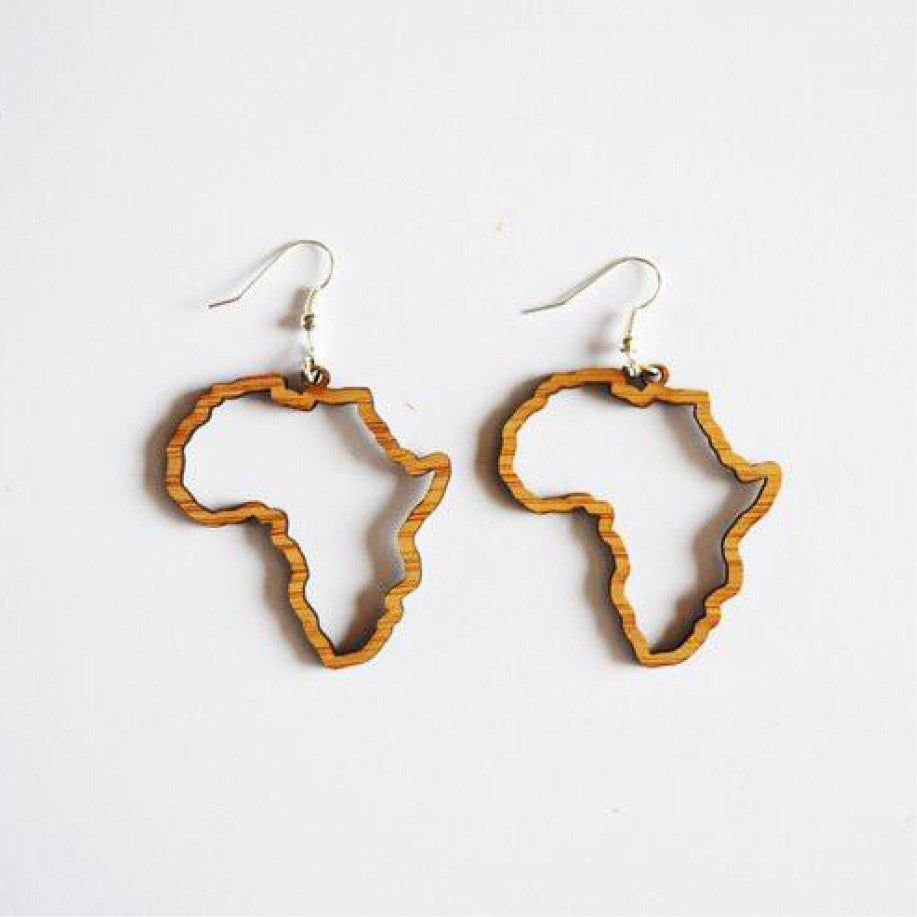 Africa Silhouette Bamboo Hanging Earrings - sugar and vice 1