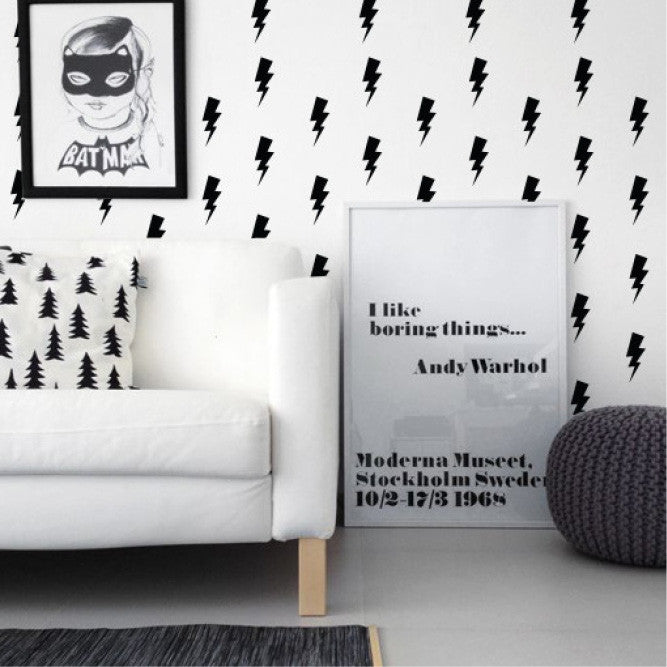 Black Lightning bolts wall decals online - Sugar and Vice