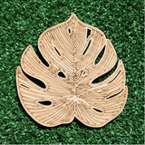 Delicious Monster Leaves engraved bamboo coaster set - sugar and vice 1