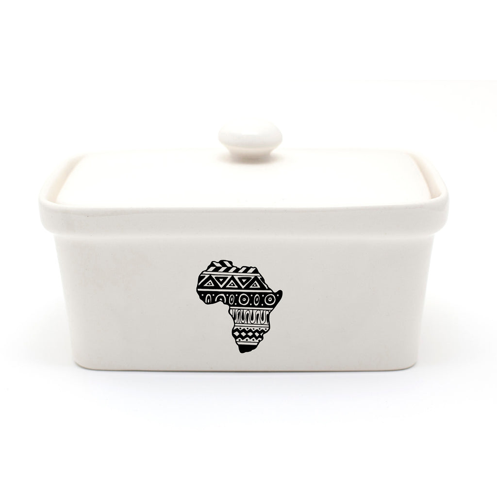 Illustrated aztec Africa continent butter dish online - Sugar and Vice