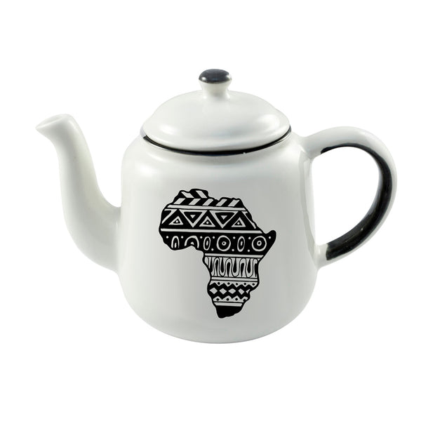 Illustrated aztec africa continent ceramic teapot online - Cape Town