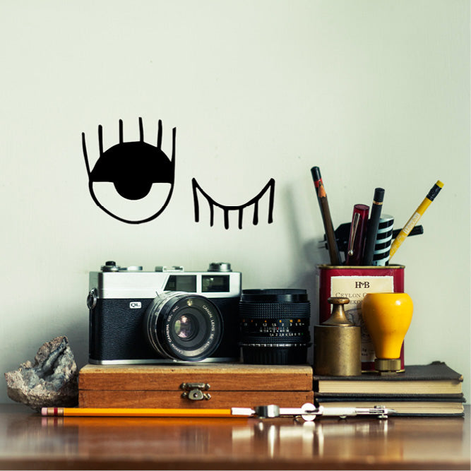 Illustrated black winking eyes wall decal online - Sugar and Vice