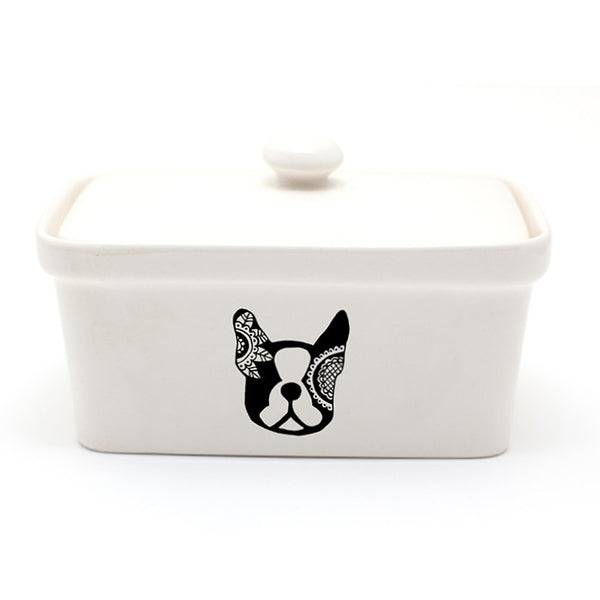 Illustrated boston terrier black and white ceramic butter dish online - Sugar and Vice