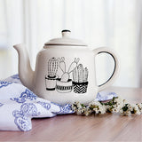 Illustrated cacti plants ceramic teapot online - Cape Town