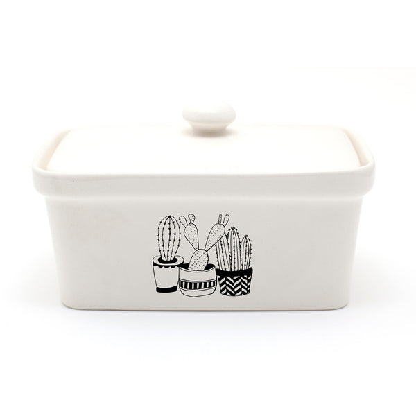 Illustrated cactus plants butter dish online - Sugar and Vice