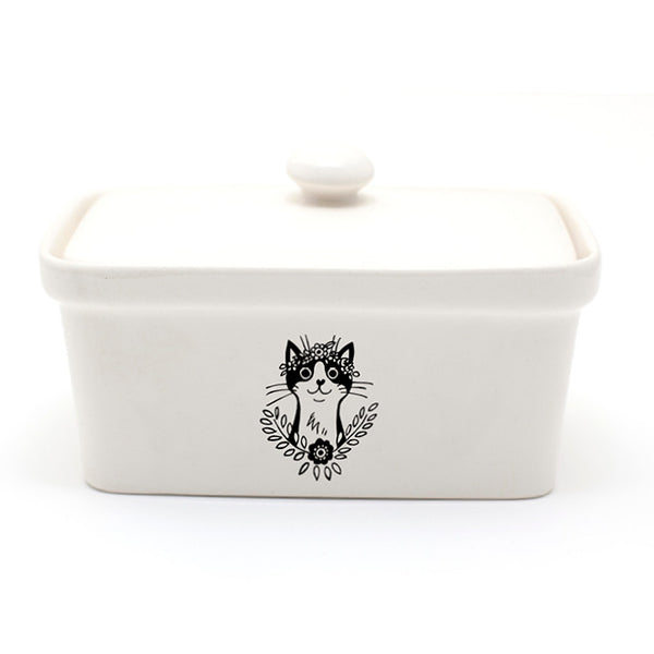Illustrated cat black and white ceramic butter dish online - Sugar and Vice