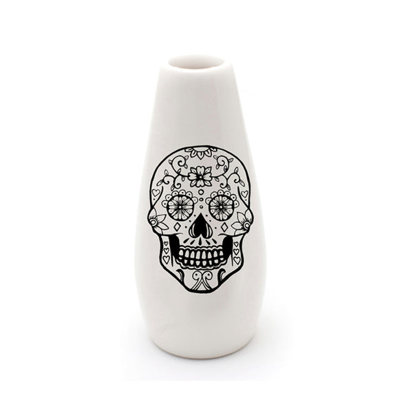 Illustrated mexican skull ceramic flower vase online - Cape Town - Sugar and Vice