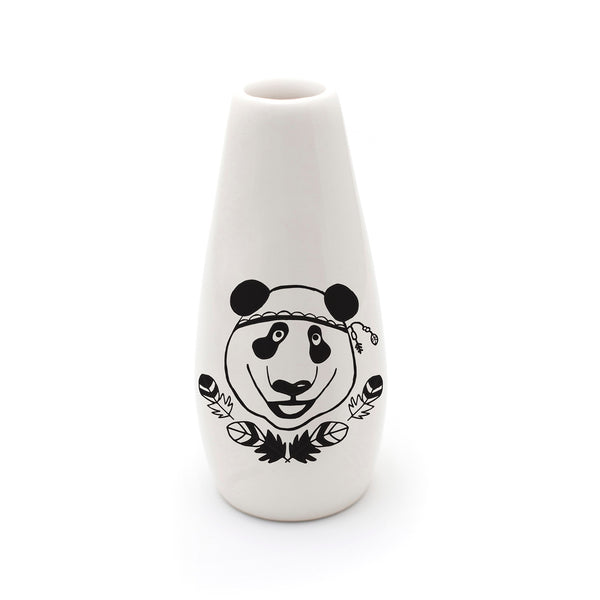Illustrated panda ceramic flower vase online - sugar and vice - cape town