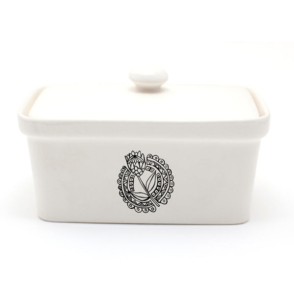 Illustrated protea black and white ceramic butter dish online - Sugar and Vice