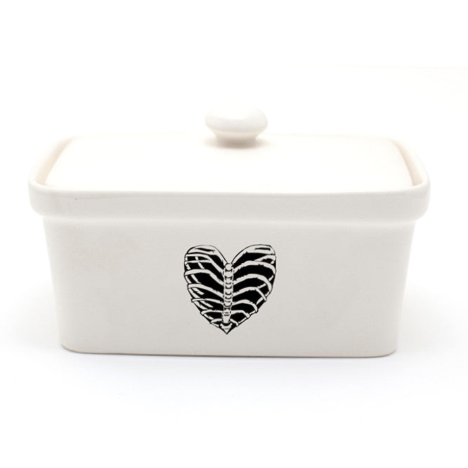Illustrated ribcage heart black and white ceramic butter dish online - Sugar and Vice