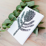 Illustrated silhouette protea greeting card online - Sugar and Vice