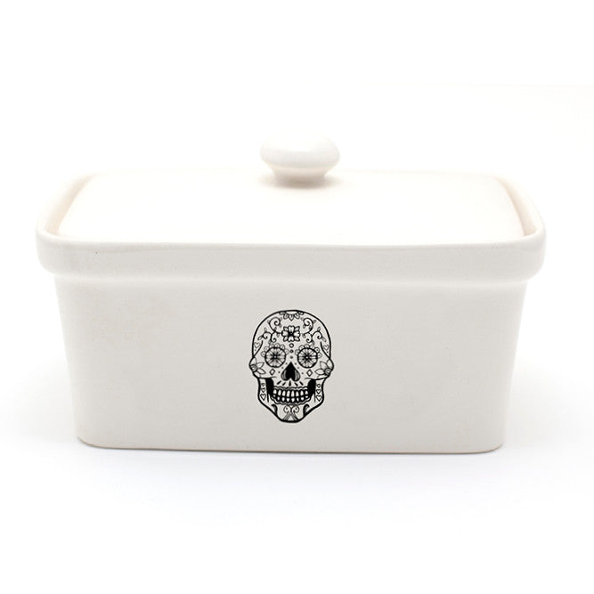 Illustrated sugar skull black and white ceramic butter dish online - Sugar and Vice