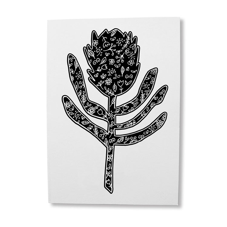 Silhouette Protea illustrated greeting card online - Sugar and Vice