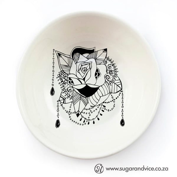 Tattoo rose ceramic bowl