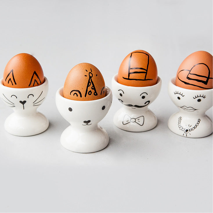 White cute faces family ceramic egg cups online - Sugar and Vice