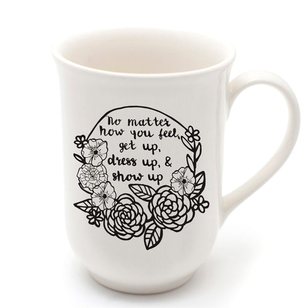 White handmade dress up quote ceramic mug online - Sugar and Vice