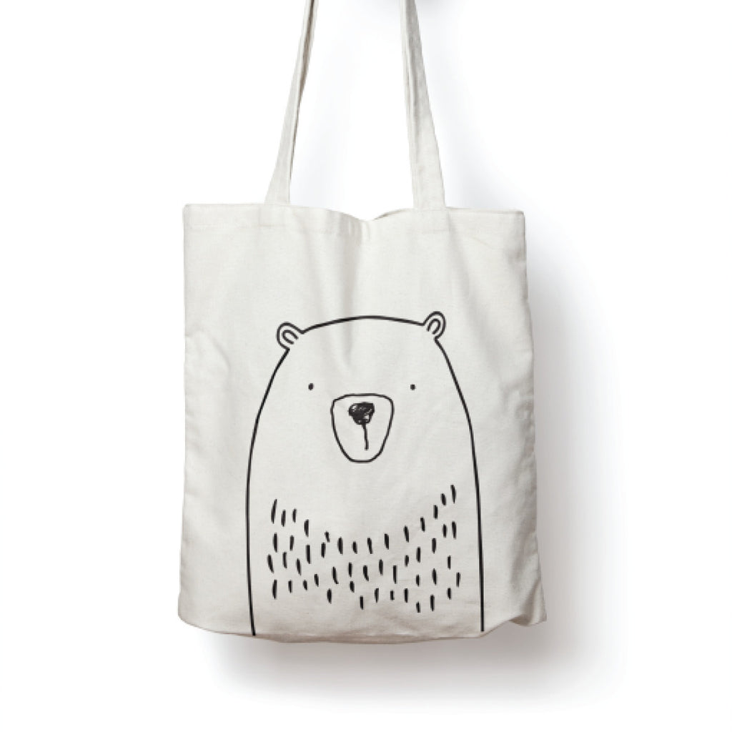 White illustrated bear tote bag online - Sugar and Vice