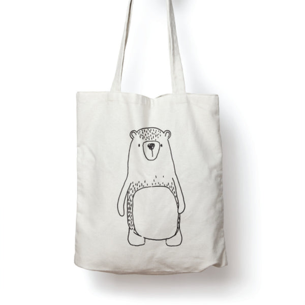White illustrated cute bear tote bag online - Sugar and Vice