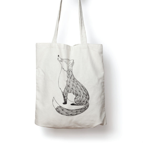 White illustrated cute fox tote bag online - Sugar and Vice