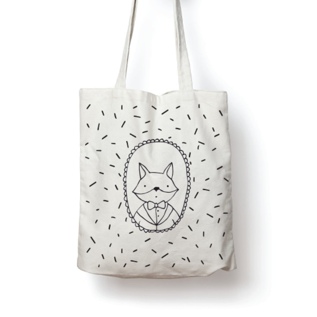 White illustrated fox tote bag online - Sugar and Vice