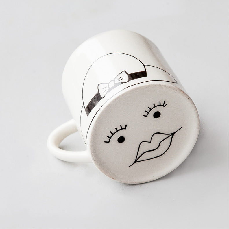 Whit cute madam face ceramic mugs online - Sugar and Vice