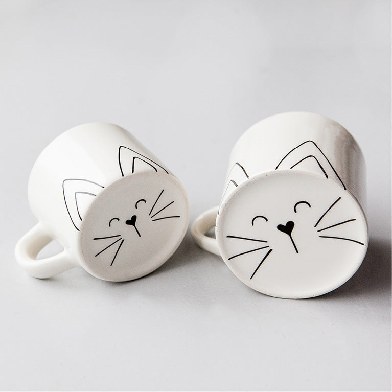 White matching mom and toddler cute cat face ceramic mugs online - Sugar and Vice