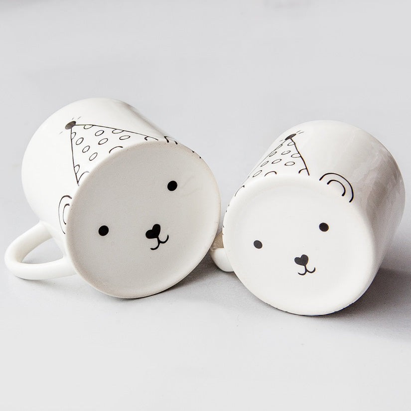 White matching mom and toddler cute party bear face ceramic mugs online - Sugar and Vice