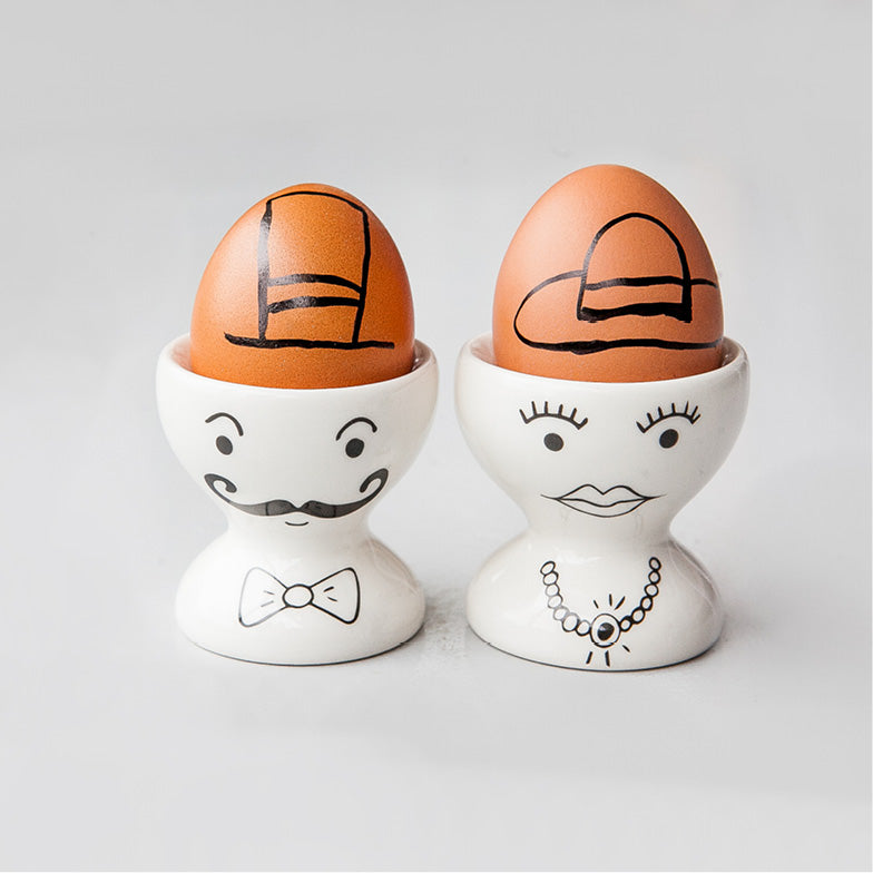 White sir and madam matching ceramic egg cups online - Sugar and Vice