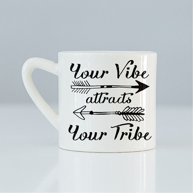 Your vibe attracts your tribe quote handmade ceramic mug online - Sugar and Vice