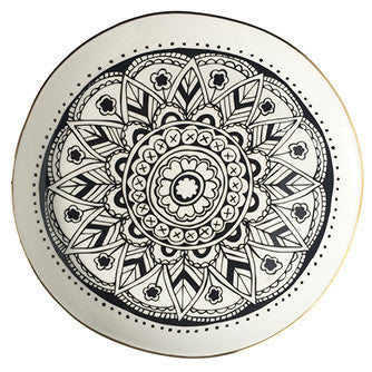 buy-ceramic-cape-town-mandala-gold-rimmed-monochrome-plate-south-africa