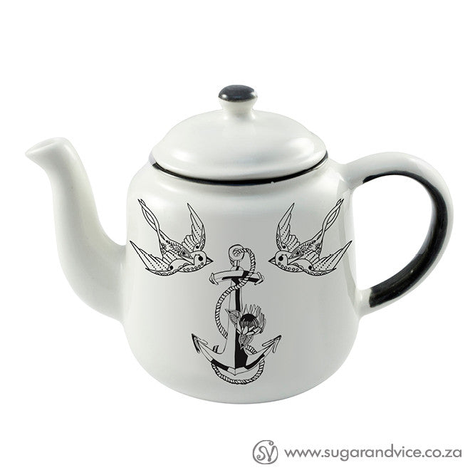 Anchor and swallows ceramic teapot