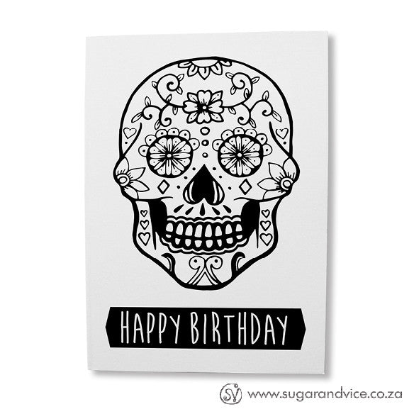 white skull birthday greeting card online  sugar and vice  cape town, Birthday card