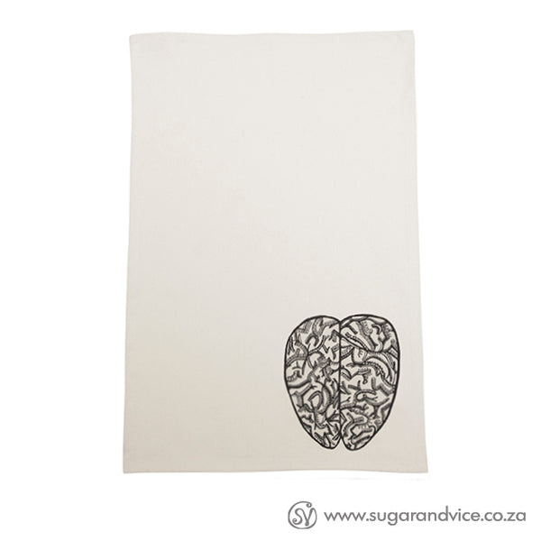 Beautiful tea towel with The Brains design