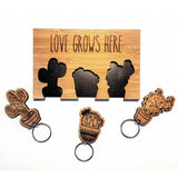 Cacti love grows here Bamboo keychain set online - Sugar & Vice