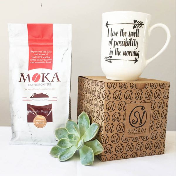hand-roasted artisan moka coffee and quote mug gift set - sugar and vice 1