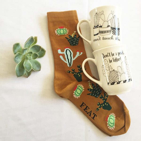 handmade cactus ceramic mug sock gift pack - sugar and vice