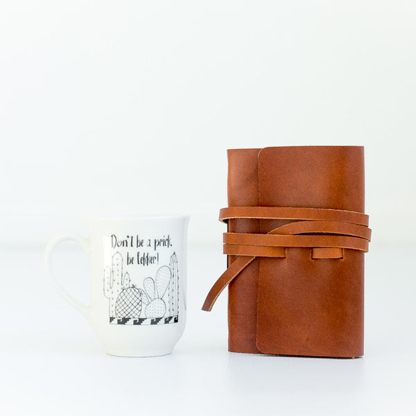 handmade ceramic mug and leather journal gift pack - sugar and vice 3