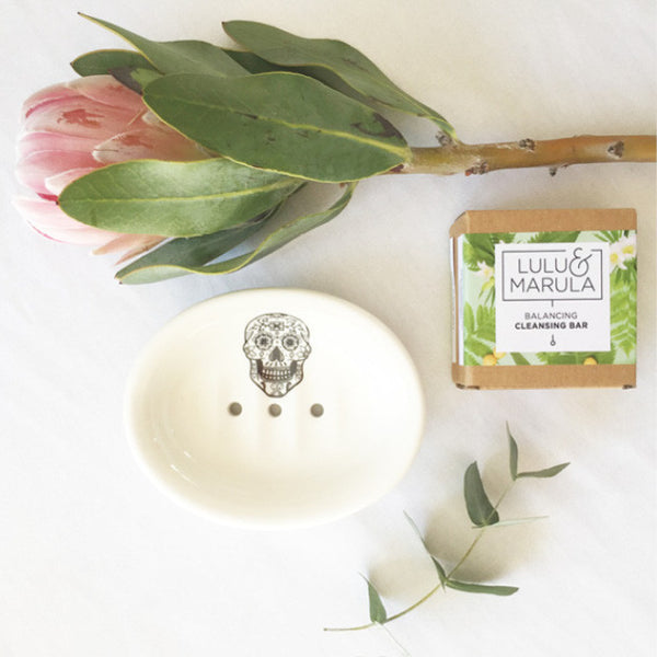 handmade white ceramic sugar skull soap dish and cleansing bar gift set - sugar and vice 2