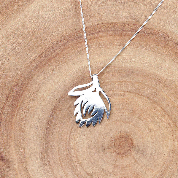 Sterling silver King Protea fynbos necklace online - Sugar and Vice